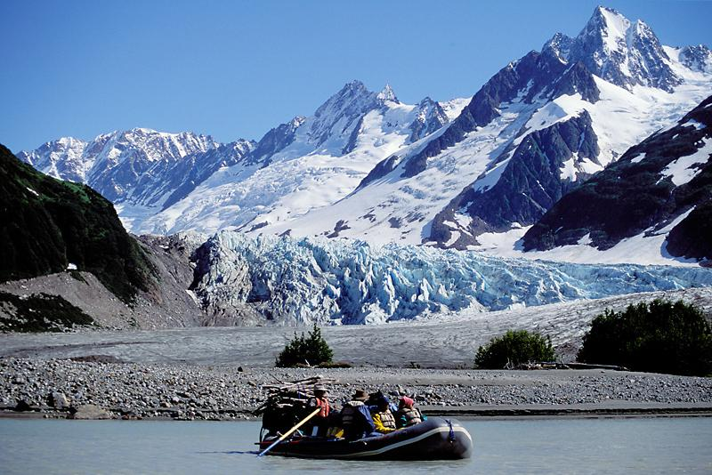 Rowing into Camp, Walker Glacier, Alsek River